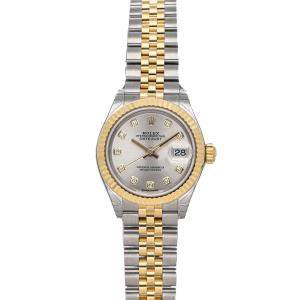 Rolex Silver Diamonds 18K Yellow Gold And Stainless Steel Datejust 279173 Women's Wristwatch 28 MM