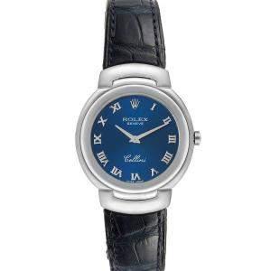 Rolex Blue 18k White Gold Cellini 6622 Women's Wristwatch 33 MM