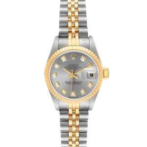 Rolex Silver Diamonds 18K Yellow Gold And Stainless Steel Datejust 69173 Women's Wristwatch 26 MM
