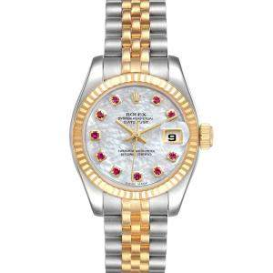 Rolex MOP Ruby 18K Yellow Gold And Stainless Steel Datejust 179173 Women's Wristwatch 26 MM