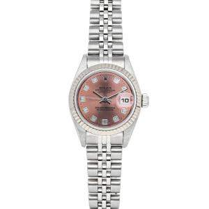 Rolex Pink Diamonds 18K White Gold And Stainless Steel Datejust 79174 Women's Wristwatch 26 MM
