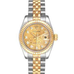 Rolex Champagne Diamonds 18K Yellow Gold And Stainless Steel Datejust 179173 Women's Wristwatch 26 MM
