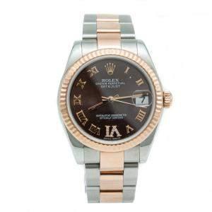 Rolex Chocolate Diamond Dial Datejust Steel & Rose Gold Ladies Watch 31 MM