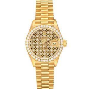 ساعة يد نسائية رولكس بريزيدانت دايتجست 69138 ذهب أصفر عيار 18 و ألماس شامبانيا 26 مم