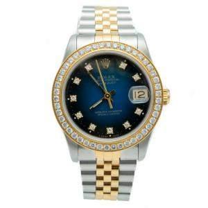 Role Blue Datejust Steel & Yellow Gold Diamonds Women's Watch 31 MM