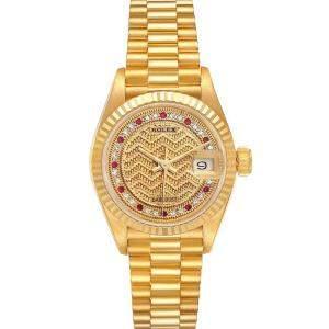 Rolex Champagne Diamonds Rubies 18K Yellow Gold President Datejust 69178 Women's Wristwatch 26 MM