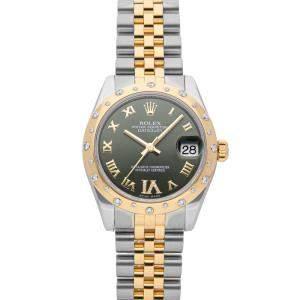 ساعة يد نسائية رولكس ديت جست 178343 ستانلس ستيل وذهب أصفر عيار 18 ألماس خضراء 31 مم