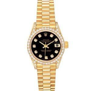 ساعة يد نسائية رولكس ديت جست 69158  ذهب أصفر عيار 18 ألماس سوداء 26 مم