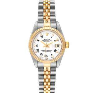 Rolex White Diamonds 18k Yellow Gold And Stainless Steel Datejust 79173 Women's Wristwatch 26 MM