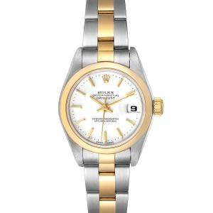 Rolex White 18K Yellow Gold And Stainless Steel Datejust 79163 Women's Wristwatch 26 MM
