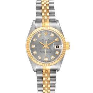 Rolex Grey Diamond 18K Yellow Gold And Stainless Steel Datejust 69173 Women's Wristwatch 26 MM