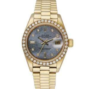 Rolex Grey Diamonds 18K Yellow Gold Datejust 69138 Women's Wristwatch 26 MM