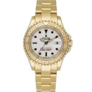 Rolex White 18K Yellow Gold Yachtmaster 69628 Women's Wristwatch 29 MM