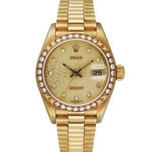 Rolex Champagne Diamonds 18K Yellow Gold Datejust President 69268 Women's Wristwatch 26 MM