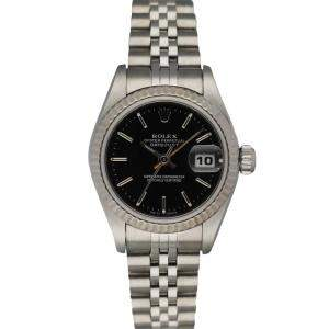 Rolex Black 18K White Gold And Stainless Steel Oyster Perpetual Datejust 79174 Women's Wristwatch 26 MM