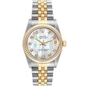 Rolex MOP Diamonds 18K Yellow Gold And Stainless Steel Datejust 68273 Women's Wristwatch 31 MM