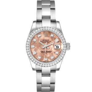 Rolex Pink Diamonds Stainless Steel Datejust 179384 Women's Wristwatch 26 MM