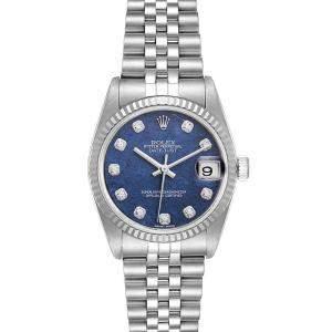 Rolex Blue Diamonds 18K White Gold And Stainless Steel Datejust 78274 Women's Wristwatch 31 MM
