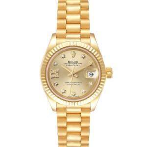 Rolex Champagne Diamonds 18K Yellow Gold President Datejust 279178 Women's Wristwatch 28 MM