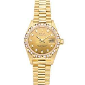Rolex Champagne Diamonds 18K Yellow Gold Datejust 69258 Women's Wristwatch 26 MM