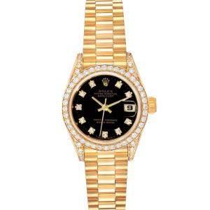 Rolex Black Diamonds 18k Yellow Gold President Datejust 69158 Women's Wristwatch 26 MM