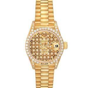 Rolex Champagne 18K Yellow Gold President Datejust 69158 Women's Wristwatch 26 MM