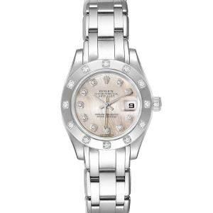 Rolex MOP Diamonds 18K White Gold Pearlmaster 80319 Women's Wristwatch 29 MM