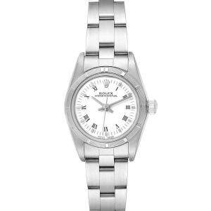 Rolex White Stainless Steel Oyster Perpetual 76030 Women's Wristwatch 24 MM
