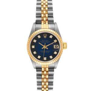 Rolex Blue Diamonds Yellow Gold And Stainless Steel Datejust 69173 Women's Wristwatch 26 MM