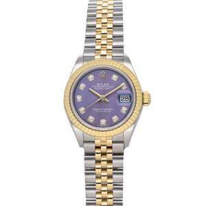 Rolex Purple Diamonds 18K Yellow Gold And Stainless Steel Datejust 279173 Women's Wristwatch 28 MM