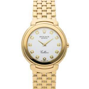 Rolex White Diamonds 18K Yellow Gold Cellini 6623/8 Women's Wristwatch 37 MM