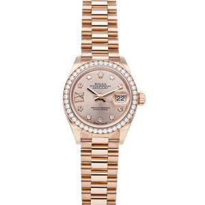 Rolex Pink Diamonds 18K Rose Gold Datejust 279135RBR Women's Wristwatch 28 MM