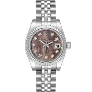 Rolex Black MOP Diamonds 18K White Gold And Stainless Steel Datejust 179174 Women's Wristwatch 26 MM