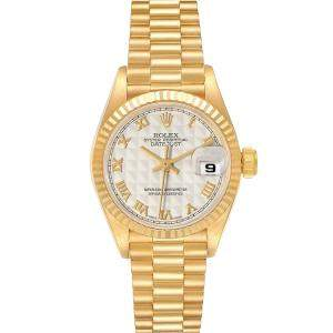 Rolex White 18K Yellow Gold President Datejust 69178 Women's Wristwatch 26 MM