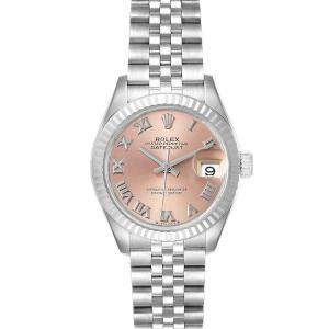 Rolex Pink 18K White Gold And Stainless Steel Datejust 279174 Women's Wristwatch 28 MM