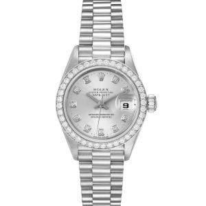 Rolex Silver Diamonds Platinum President 69136 Women's Wristwatch 26 MM