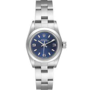 Rolex Blue Stainless Steel Oyster Perpetual 67180 Women's Wristwatch 24 MM
