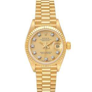 Rolex Diamonds 18K Yellow Gold President Datejust 69178 Women's Wristwatch 26 MM