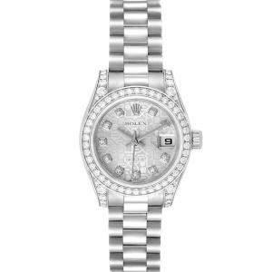 Rolex Silver Diamonds 18k White Gold President Datejust 179159 Women's Wristwatch 26 MM