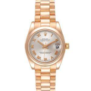Rolex Silver 18K Rose Gold President Datejust 178245 Men's Wristwatch 31 MM