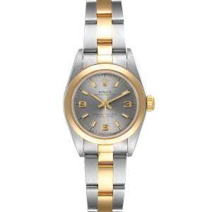 Rolex Grey 18K Yellow Gold And Stainless Steel Oyster Perpetual 76183 Women's Wristwatch 24 MM