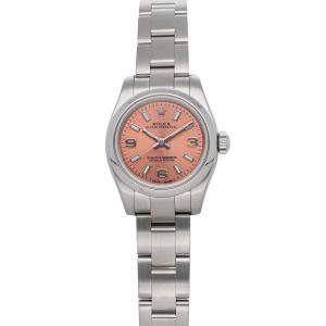 Rolex Pink Stainless Steel Oyster Perpetual 176200 Women's Wristwatch 26 MM