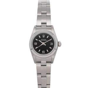 Rolex Black Stainless Steel Oyster Perpetual 76080 Women's Wristwatch 24 MM