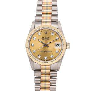 Rolex Champagne Diamonds 18K White Rose Yellow Gold Datejust Tridor 68279 Women's Wristwatch 31 MM