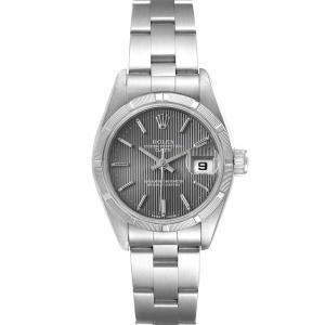 Rolex Grey Stainless Steel Oyster Perpetual Date 69190 Women's Wristwatch 26 MM