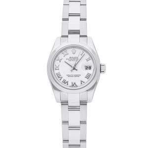 Rolex White Stainless Steel Datejust 179160 Women's Wristwatch 26 MM