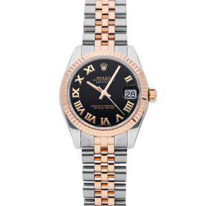 Rolex Black 18K Rose Gold And Stainless Steel Datejust 178271 Women's Wristwatch 31 MM