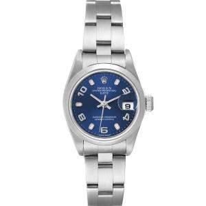 Rolex Blue Stainless Steel Oyster Perpetual Date 79160 Women's Wristwatch 26 MM