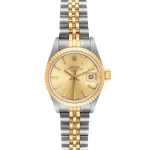 Rolex Silver Yellow Gold And Stainless Steel Datejust 69173 Women's Wristwatch 26 MM