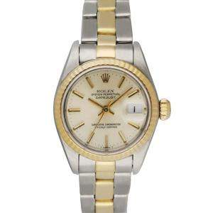 Rolex Silver 18k Yellow Gold And Stainless Steel Datejust 69173 Women's Wristwatch 26 MM